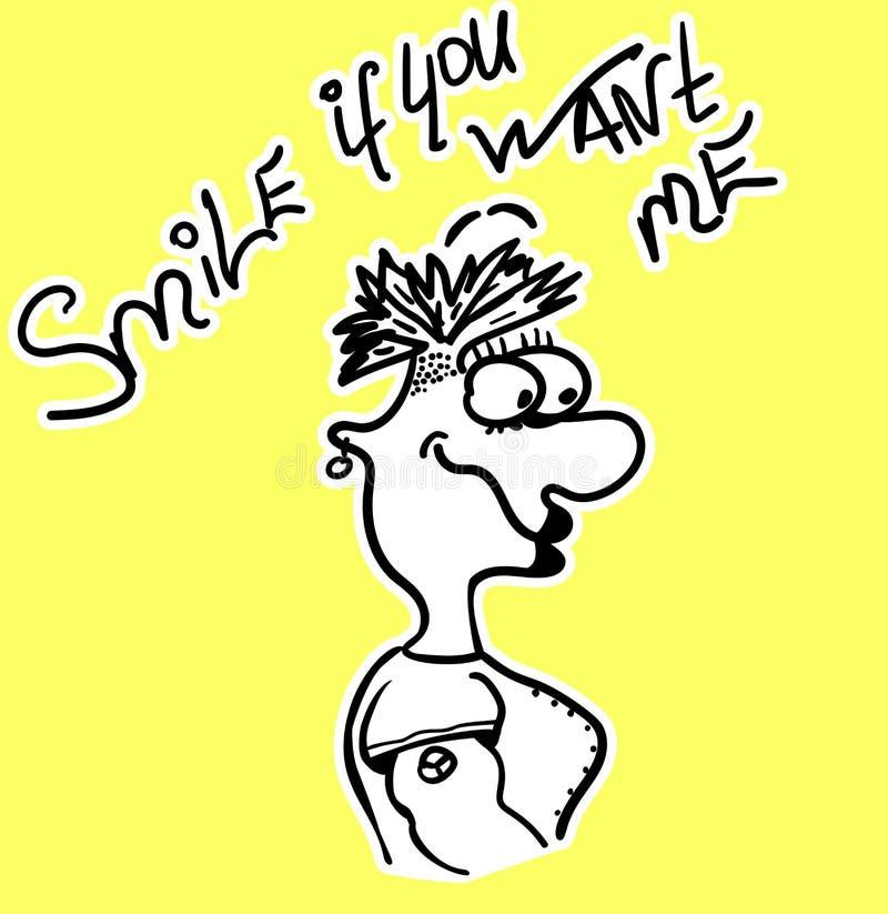 Karten-Karikaturmädchen mit Beschriftung - Lächeln, wenn Sie mich wünschen Vektorillustrations-Handzeichnung Lustige gezogene Fra vektor abbildung