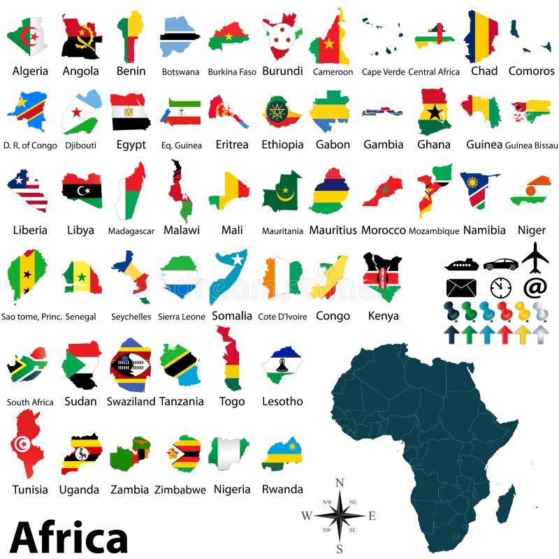 Karten mit Flaggen von Afrika stockfotografie