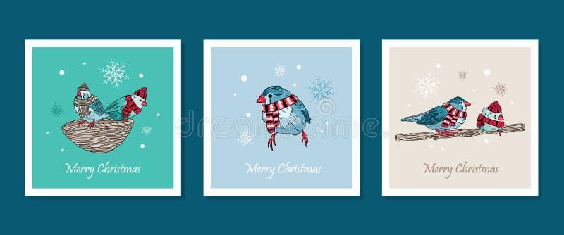 Karten mit netten Vögeln wärmen sich angekleidet in der Wintersaison vektor abbildung