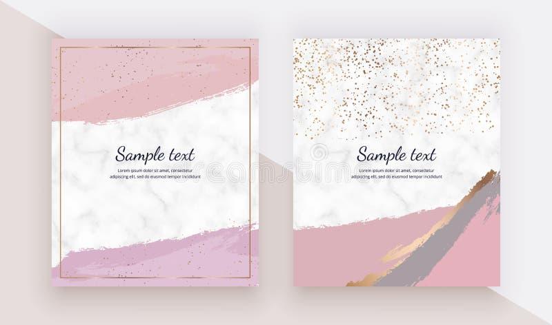 Karten mit rosa Aquarellbürsten-Anschlagbeschaffenheit, Goldkonfettis auf der Marmorbeschaffenheit Modische Schablonen f?r Fahne, vektor abbildung