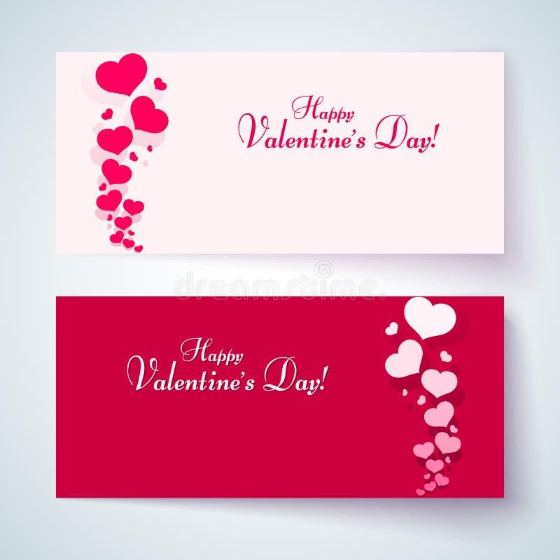 Karten mit rosa Herzen an einem romantischen Hintergrund Muster von den Herzen und Text an glücklichem Valentinstag für den Entwu lizenzfreie abbildung