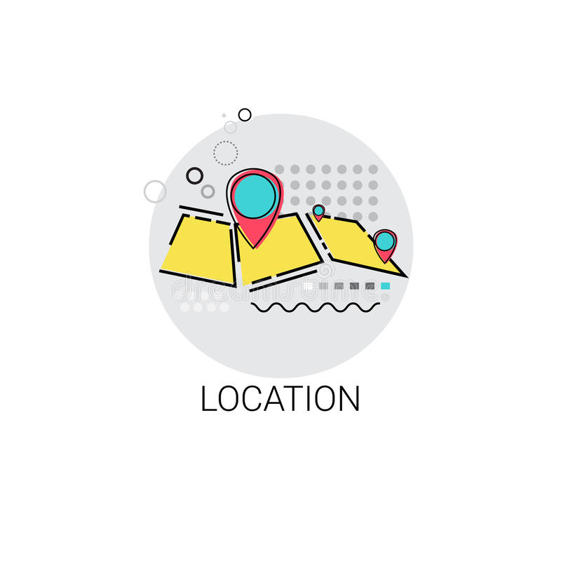 Karten-Navigations-Standort-Positions-Ikone stock abbildung