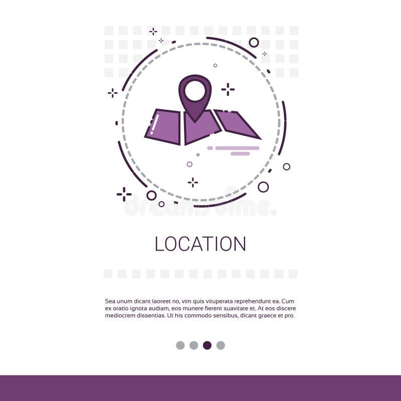 Karten-Navigations-Standort-Positions-Netz-Fahne mit Kopien-Raum vektor abbildung