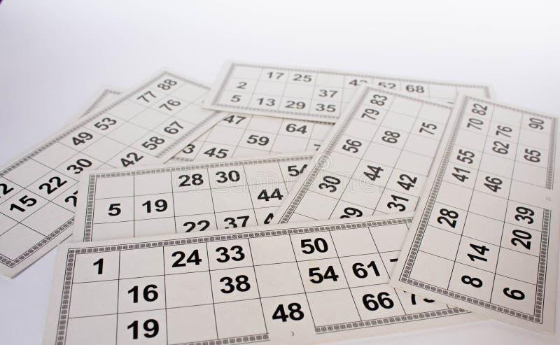 Karten und F?sser f?r russisches Lottobingospiel auf wei?em Hintergrund lizenzfreie stockfotos