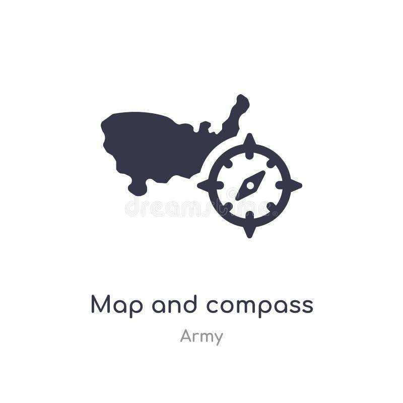 Karten- und Kompassikone lokalisierte Karten- und Kompassikonenvektorillustration von der Armeesammlung editable singen Sie Symbo lizenzfreie abbildung