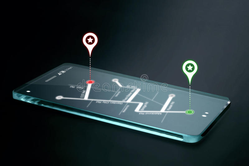 Karten- und Navigationsikonen auf transparentem Smartphoneschirm lizenzfreies stockbild