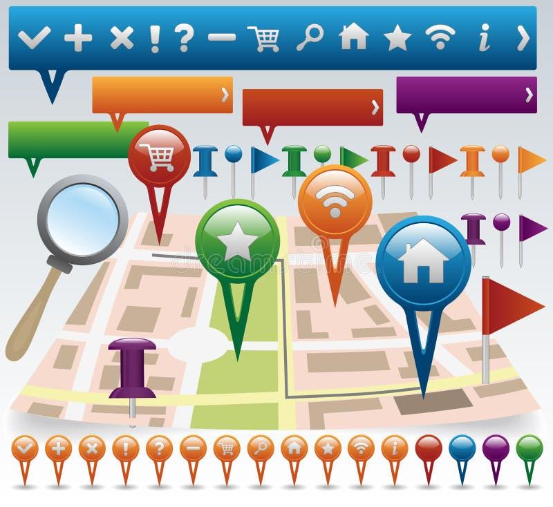 Download Karten- Und Navigationsikonenset Vektor Abbildung - Illustration von abstand, ikone: 26363561