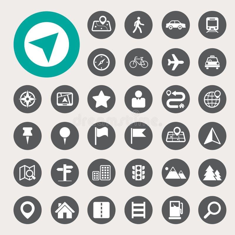 Karten-und Standort-Ikonen eingestellt lizenzfreie abbildung