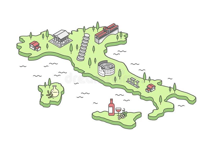 Karten-Vektorillustration Italiens isometrische lizenzfreie abbildung