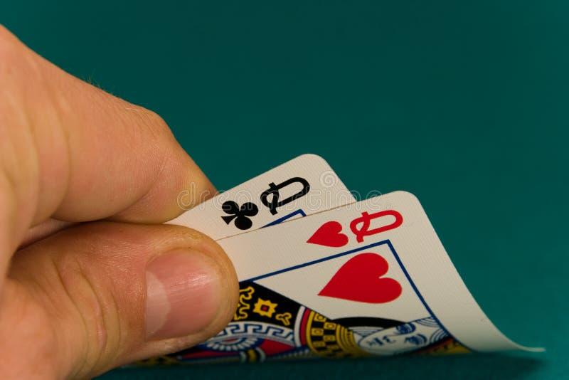 Karten vier oder zwei Königinnen der Karte 08 stockbilder