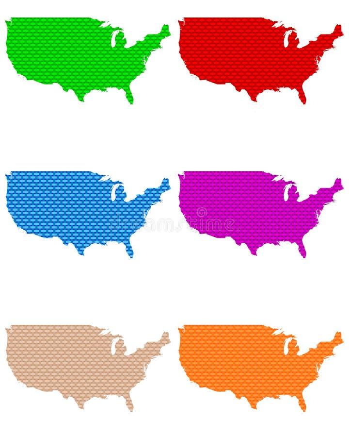 Karten vom USA-groben ineinandergegriffen stock abbildung