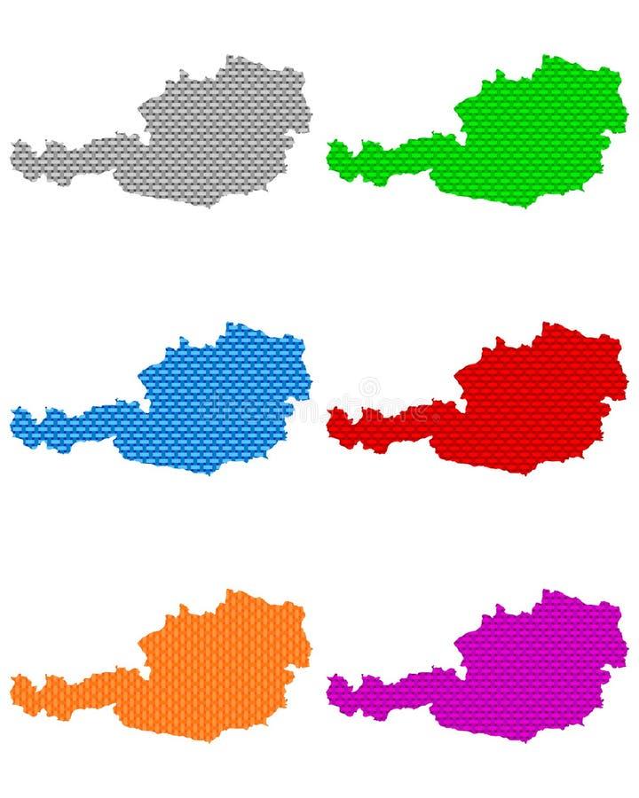 Karten von Österreich-grobem ineinandergegriffen stock abbildung