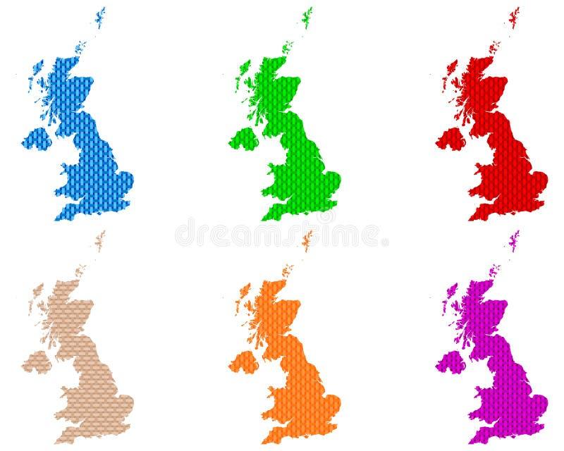 Karten von Großbritannien-grobem ineinandergegriffen lizenzfreie abbildung