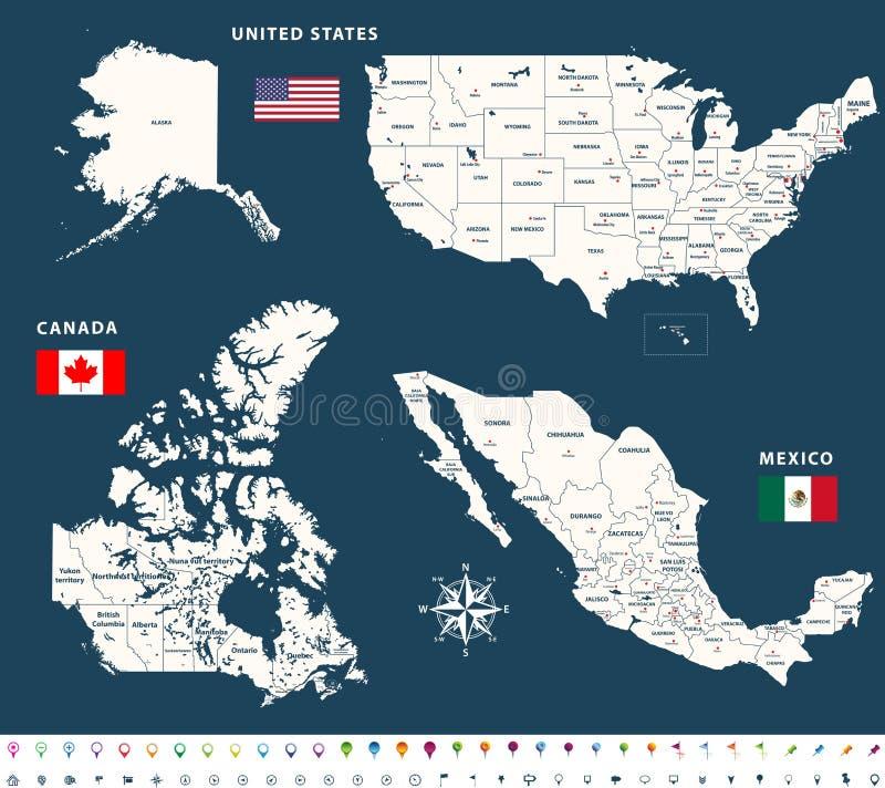 Karten von Kanada, Vereinigte Staaten und Mexiko mit Flaggen und Standortnavigationsikonen stock abbildung