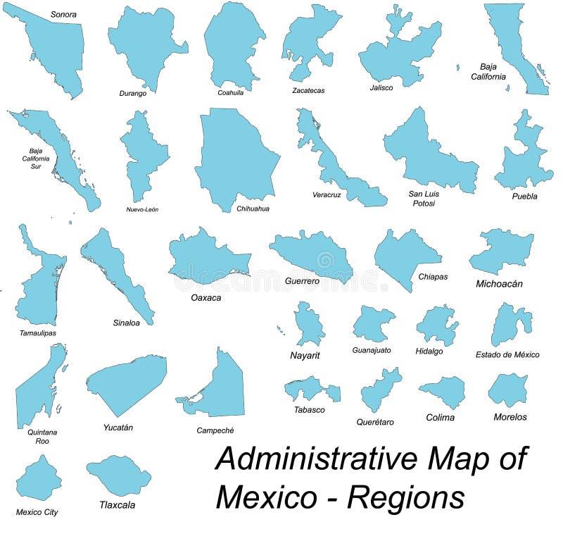 Karten von mexikanischen Bereichen stock abbildung