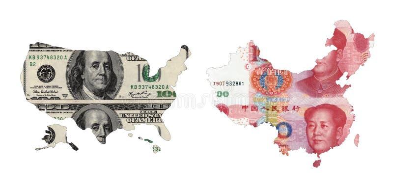 Karten von USA und von China stockfoto