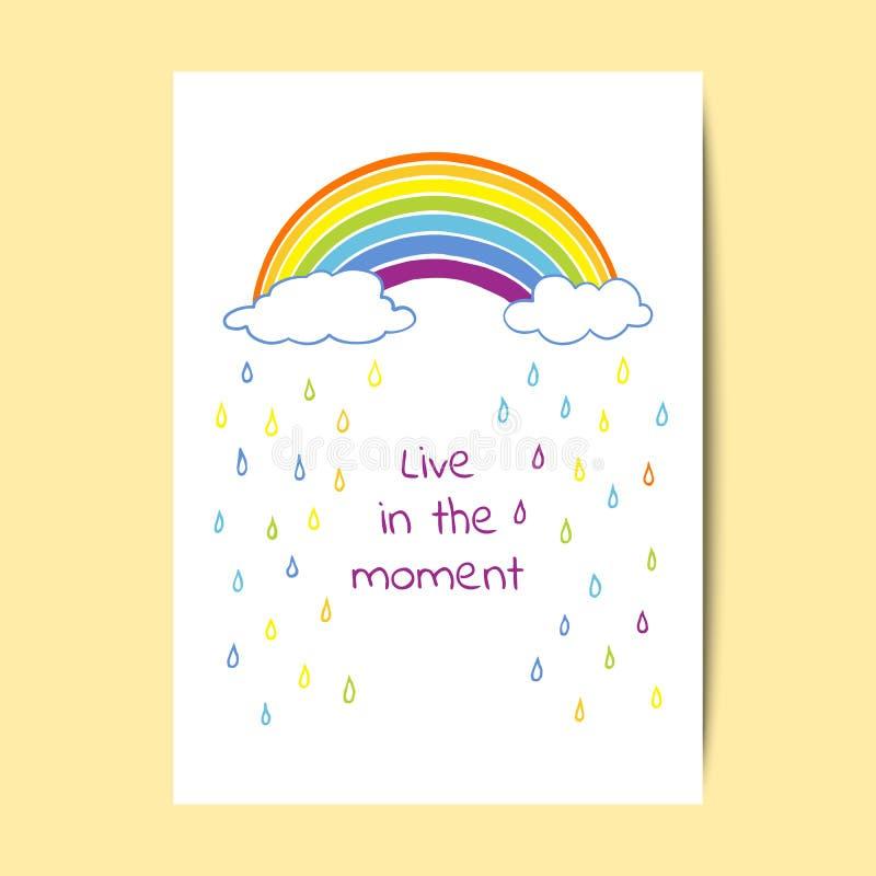 Kartendesign mit einem Regenbogen, Wolken und Regentropfen stock abbildung
