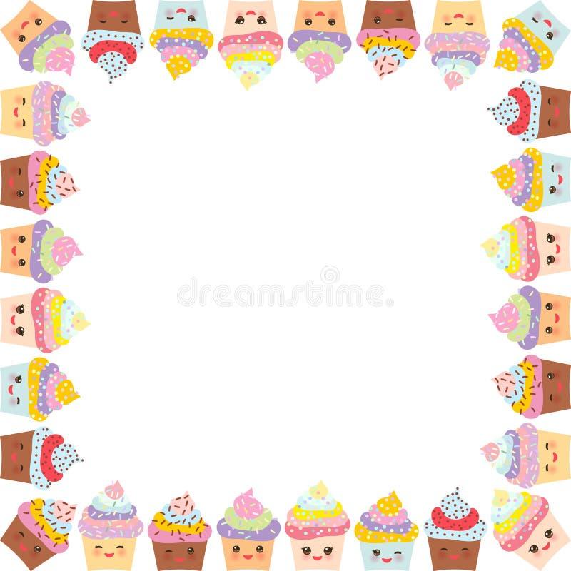 Kartendesign Mit Quadratischem Rahmen, Kleiner Kuchen, Mündung Mit ...
