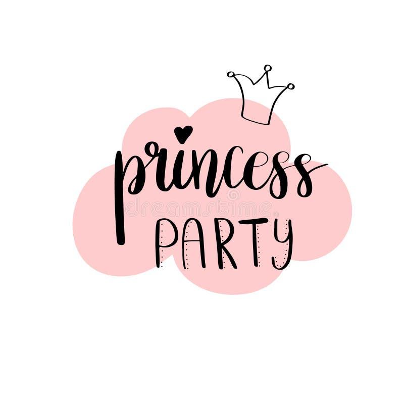 Kartendesign Prinzessin Party Bridal Dusch Geburtstags-Mädchenbeschriftungs-Zitattypographie Vector Design für Postkarte, Plakat, lizenzfreie abbildung