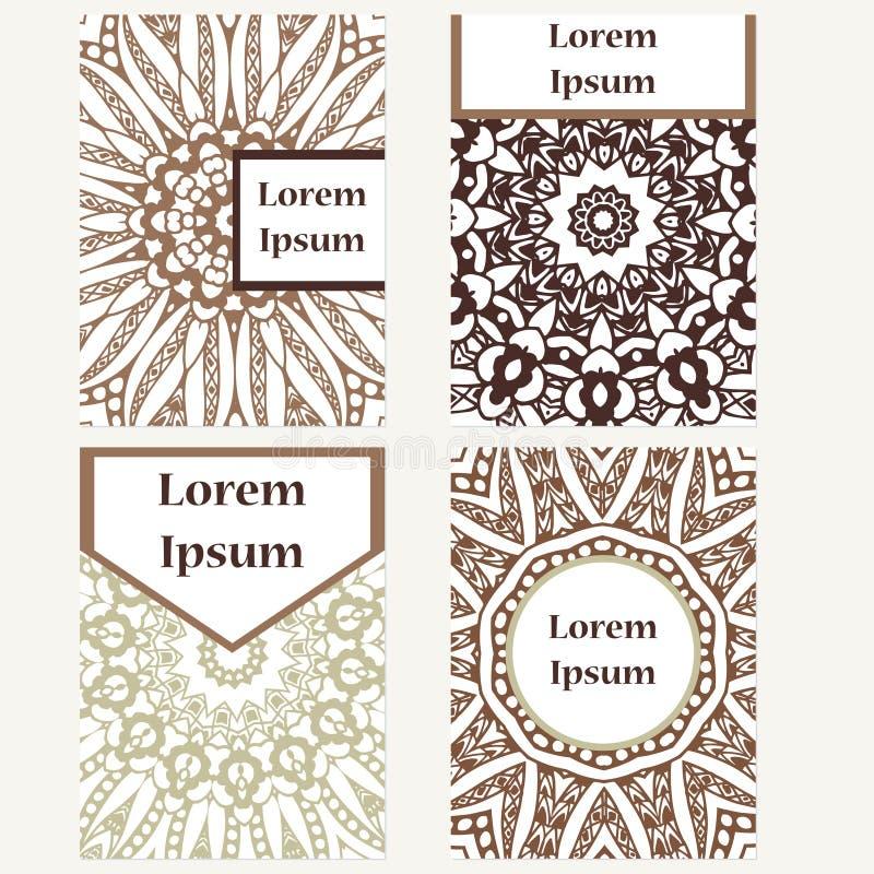 Kartendesignsatz Mandalahintergrund Dekorative Elemente Für Plakat ...
