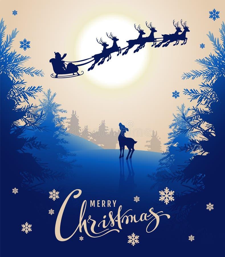 Kartendesigntext der frohen Weihnachten Junges Rotwild betrachtet oben Schattenbild Sankt-Pferdeschlitten des Rens im nächtlichen stock abbildung