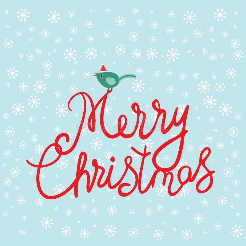 Kartenentwurf der frohen Weihnachten mit weißen Schneeflocken, Vogel in den roten Kappenweihnachtsdekorationen auf azurnem Hinter stock abbildung