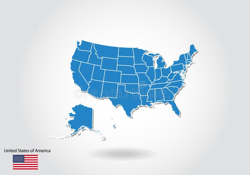 Kartenentwurf Vereinigter Staaten mit Art 3D Blaue USA zeichnen und Staatsflagge auf Einfache Vektorkarte mit Kontur, Form, Entwu stock abbildung