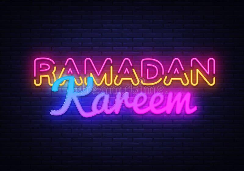 Kartenentwurfsschablone Ramadan Kareems festliche in der modernen Tendenzart Neonart-, islamischer und arabischerhintergrund für vektor abbildung