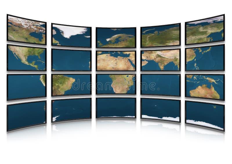 Download Kartenerde Auf Bildschirmen Der Überwachungsgeräte Stock Abbildung - Illustration von computer, sendung: 9089930
