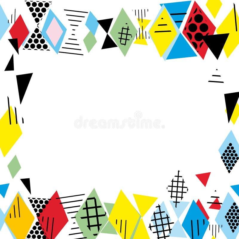 Kartenfahnen-Schablonenrahmen für Ihren Text Geometrische Memphis Postmodern Retro-Modeart 80-90s asymetrische Formen Raute Tri lizenzfreie abbildung