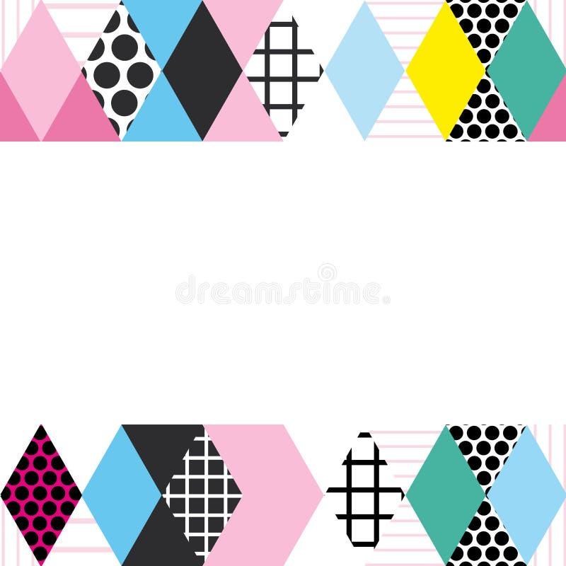 Kartenfahnen-Schablonenrahmen für Ihren Text Geometrische Memphis Postmodern Retro-Modeart 80-90s asymetrische Formen Raute Tri vektor abbildung