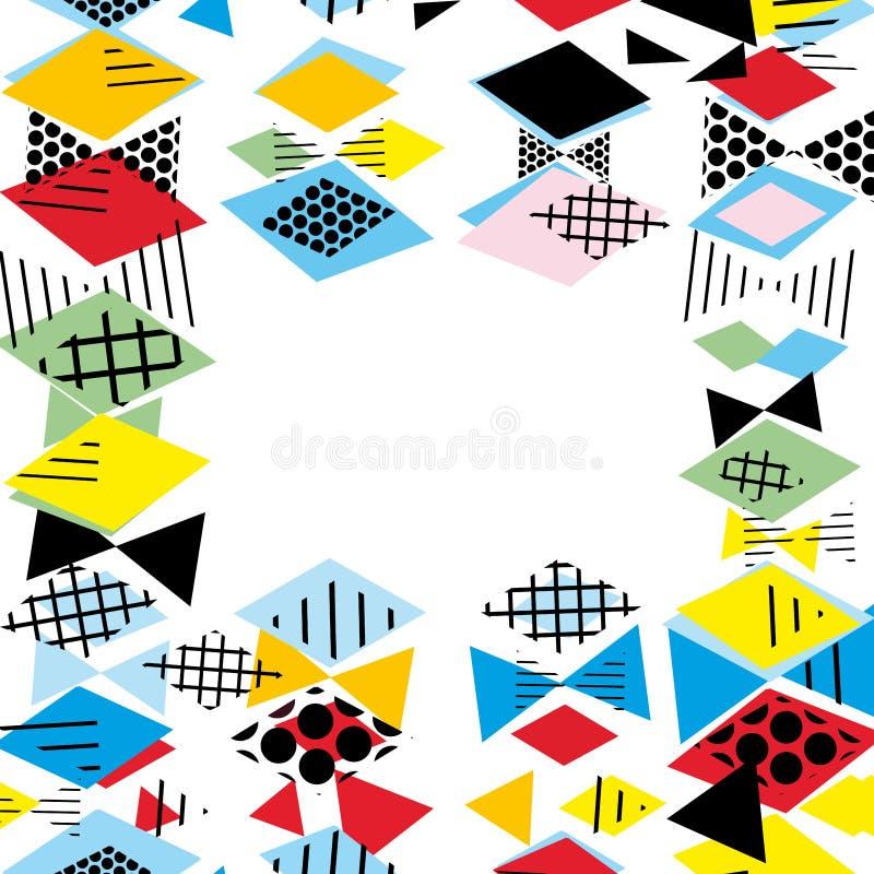 Kartenfahnen-Schablonenrahmen für Ihren Text Geometrische Memphis Postmodern Retro-Modeart 80-90s asymetrische Formen Raute Tri stock abbildung