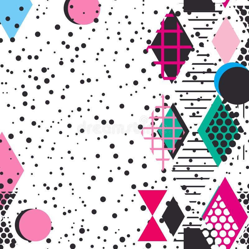 Kartenfahnen-Schablonenrahmen für Ihren Text Geometrische Memphis Postmodern Retro-Modeart 80-90s asymetrische Formen Rosa Schwar lizenzfreie abbildung