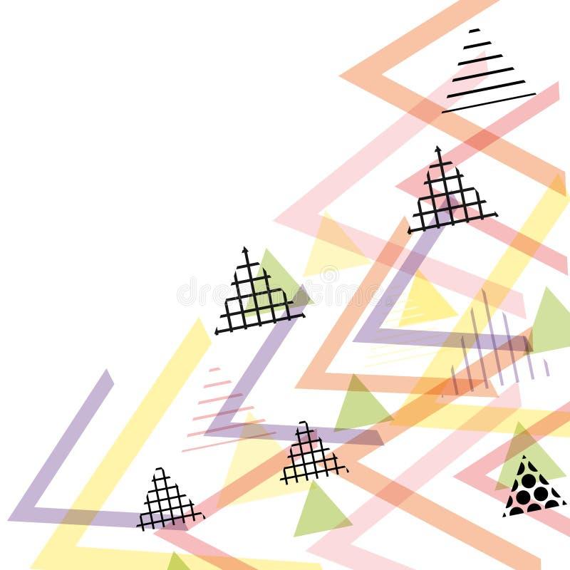 Kartenfahnen-Schablonenrahmen für Ihren Text Geometrische Memphis Postmodern Retro-Modeart 80-90s asymetrisches Formdreieck-PA vektor abbildung