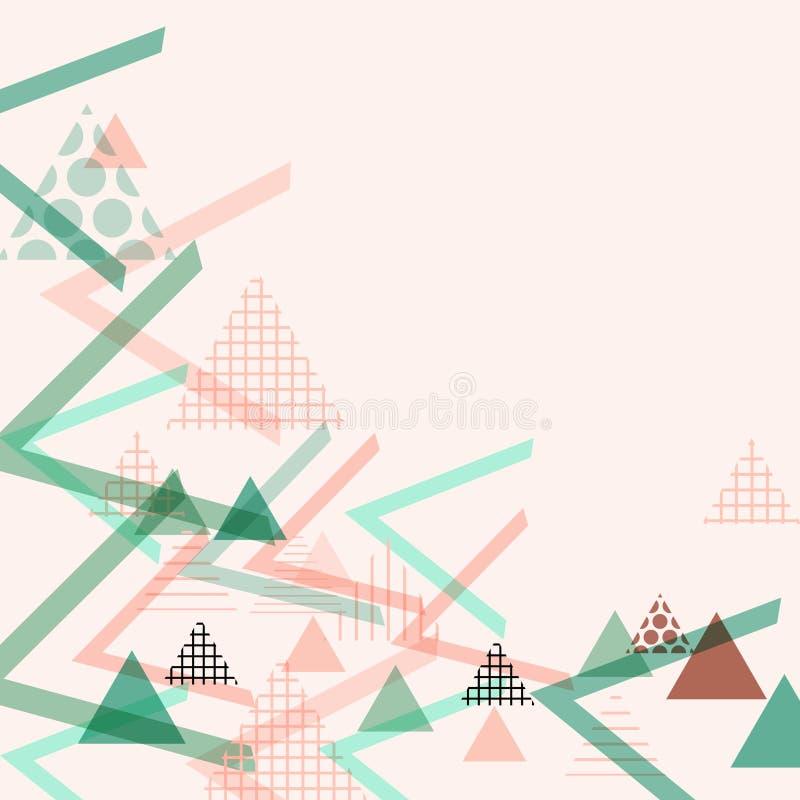 Kartenfahnen-Schablonenrahmen für Ihren Text Geometrische Memphis Postmodern Retro-Modeart 80-90s asymetrisches Formdreieck-PA lizenzfreie abbildung