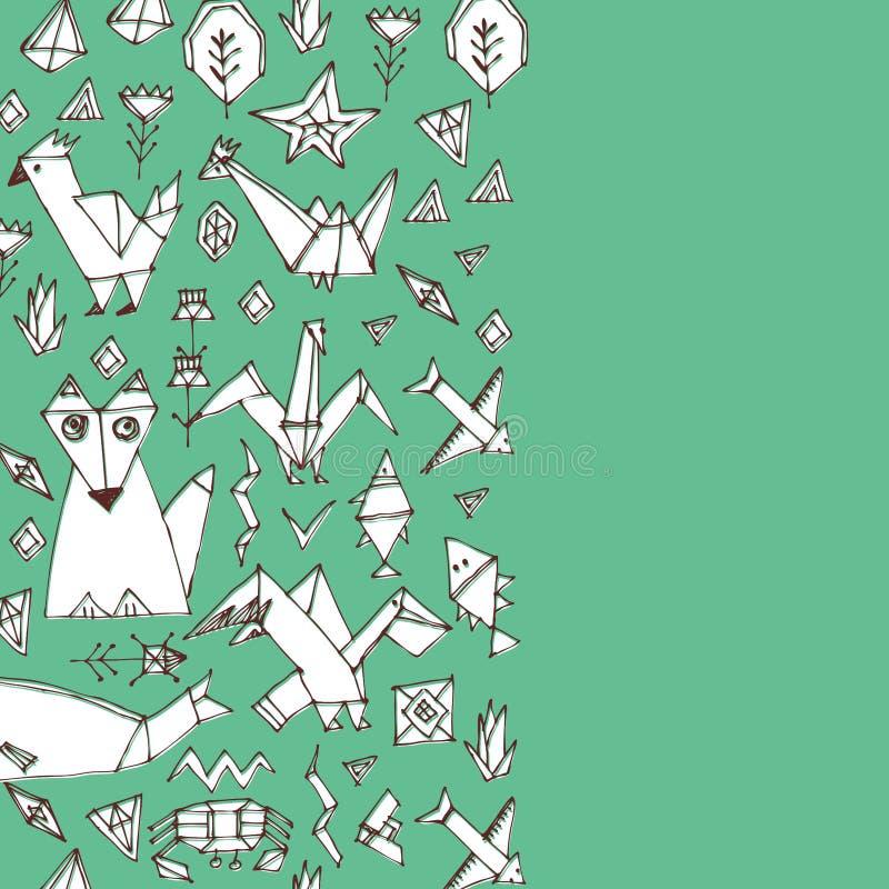 Kartenfahnenentwurf für Textfuchsfischvogel-Seetiere und pflanzen, schwarzer Entwurf auf blauem grünem Hintergrund, kritzeln deko vektor abbildung