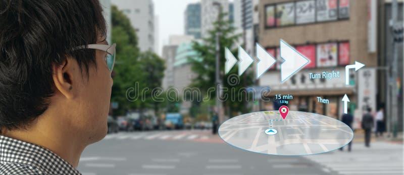 Kartengebrauch ai, Algorithmen der künstlichen Intelligenz, zu bestimmen, welche Einzelpersonen wann GPS-Standortservice sehen mö stockbilder