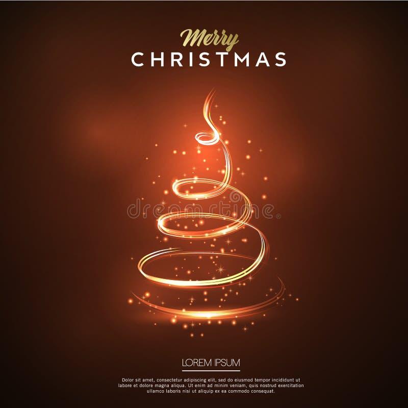Kartenglühen der frohen Weihnachten Alle Elemente und Beschaffenheiten sind einzelne Nachrichten stock abbildung