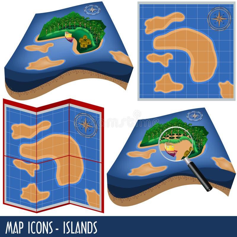 Kartenikonen - Inseln stock abbildung