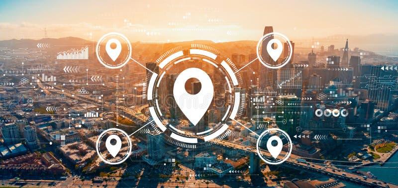 Kartenkonzept für die Innenstadt von San Francisco lizenzfreies stockbild