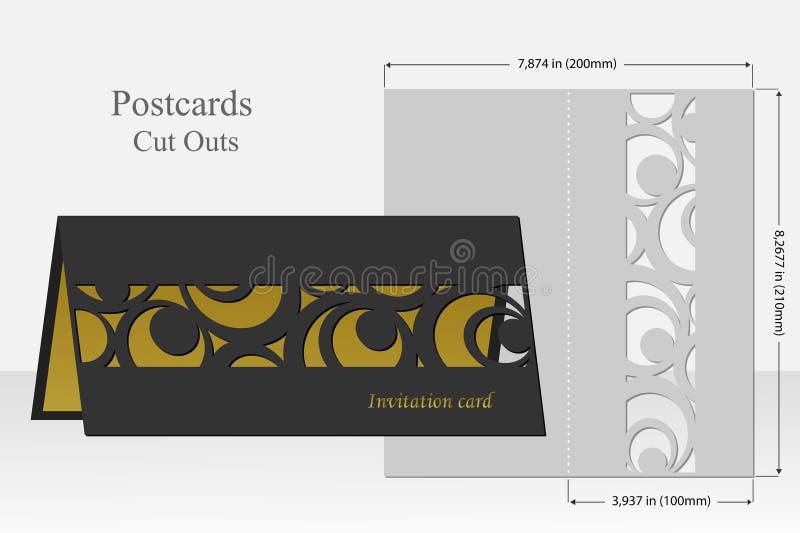 Kartenkreismuster für Laser-Schnitt Schattenbilddesign stock abbildung