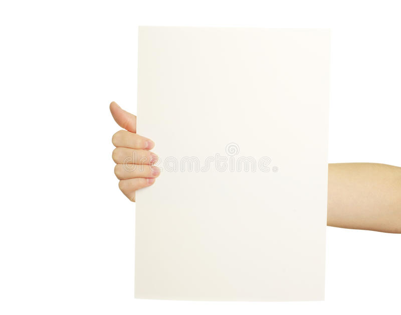 Kartenleerzeichen in der Hand stockfoto