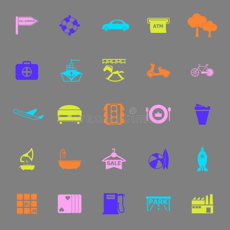Kartenplatz-Farbikonen auf grauem Hintergrund lizenzfreie abbildung
