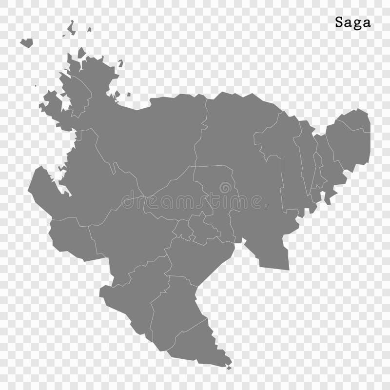 Kartenpräfektur der hohen Qualität von Japan vektor abbildung