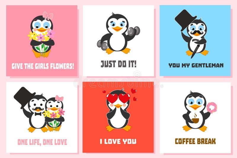 Kartensatz mit lustigen Pinguincharakteren Ich liebe dich Tun Sie es einfach Geben Sie den Mädchen Blumen Süßes Hörnchen und ein  vektor abbildung