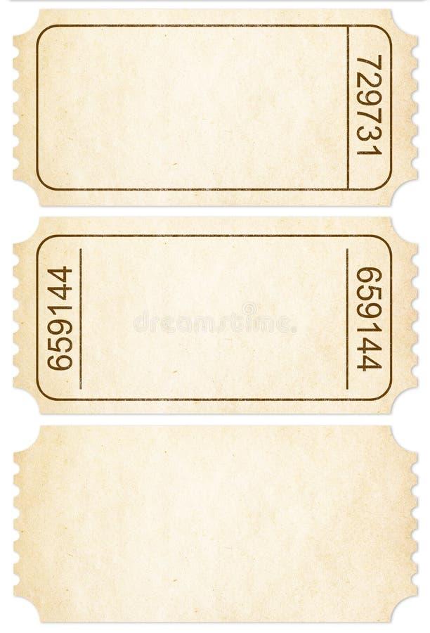 Kartensatz. Papierticketabschnitte lokalisiert mit Beschneidungspfad stockfotografie