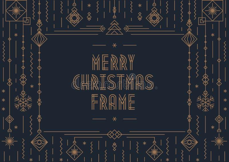 Kartenschablone der frohen Weihnachten mit Spielzeuggoldart- decoArt des neuen Jahres auf schwarzem Hintergrund vektor abbildung