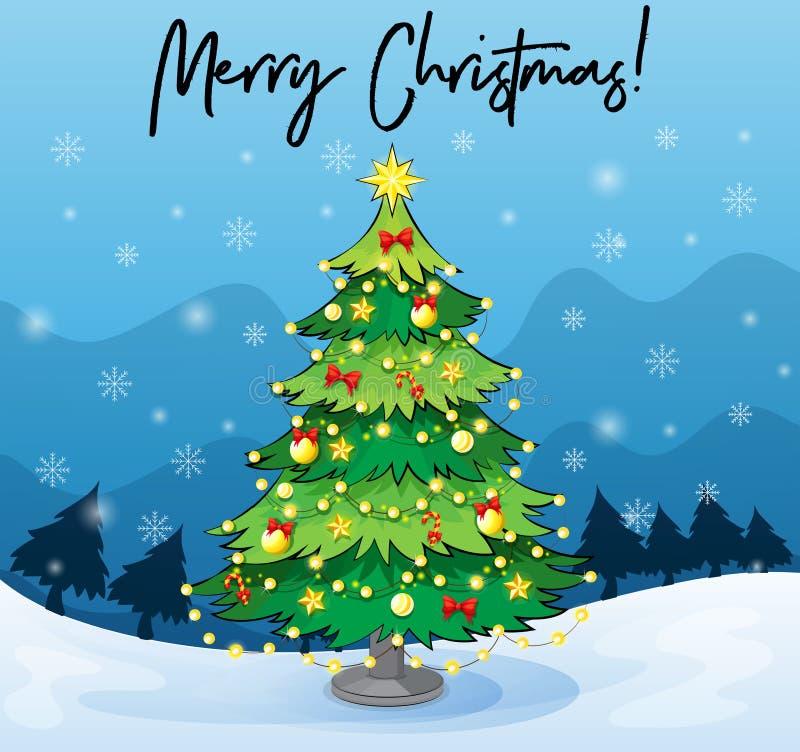 Kartenschablone der frohen Weihnachten mit Weihnachtsbaum lizenzfreie abbildung