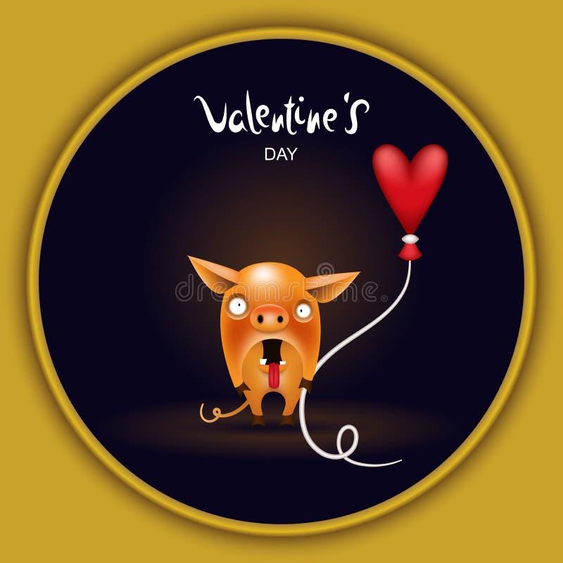 Kartenschwein mit Ballon lizenzfreie abbildung