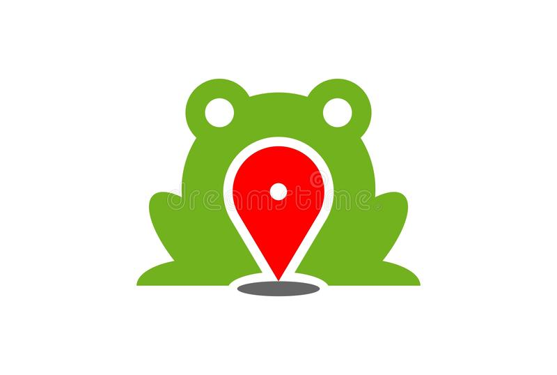 Kartenstandort-Logoikone des grünen Frosches vektor abbildung